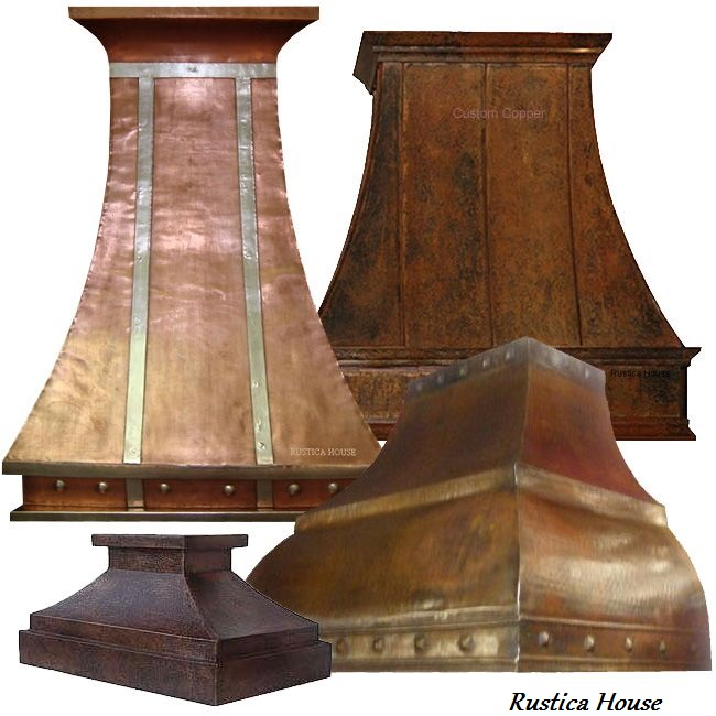 copper range hoods for kitchen island, under cabinet and wall mount