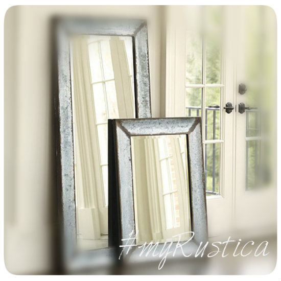 zinc mirrors with smooth and hammered frames